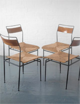 1950s wicker and steel chairs