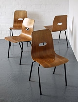 Q Stak chairs designed by Robin Day for Hille